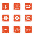 body ball icons set grunge style vector image