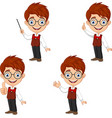 cartoon smart boy in different poses vector image vector image
