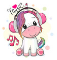 cartoon unicorn with headphones on a white vector image vector image