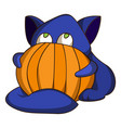cat and pumpkin icon cartoon style vector image