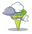 chef with food funnel character cartoon style vector image vector image