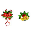 christmas decoration with bow set vector image vector image