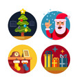 collection of cartoon christmas icons vector image vector image