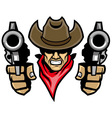 cowboy mascot aiming the guns