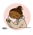 Cute doodle girl with cup of tea and cookies vector image vector image