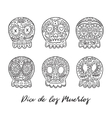 Day of the dead sugar skulls set Mexican vector image