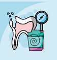 dental care broken tooth floss and tool dentistry vector image