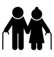 elderly couple icon old people silhouette symbol vector image vector image