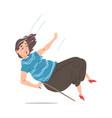 elderly woman with walking cane falling down