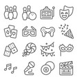 entertainment line icon set contains such vector image vector image