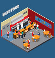fast food restaurant isometric vector image