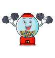 fitness gumball machine character cartoon vector image