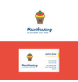 flat ice cream logo and visiting card template vector image vector image