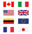 G8 countries flags vector image