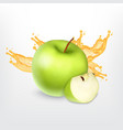 green apple with splashing juice vector image vector image