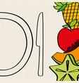 half knife carambola apple pineapple papaya food vector image