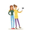 Happy Best Friends Taking Selfie Together Part Of vector image vector image