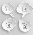 Home dog White flat buttons on gray background vector image