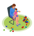 isometric concept mom tells children tales in vector image vector image