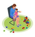 isometric concept mom tells children tales vector image