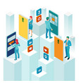 isometric promotion in social networks or smm vector image