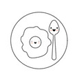 kawaii fried egg and spoon on dish in black dotted vector image
