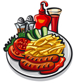 ketchup and sausages vector image vector image
