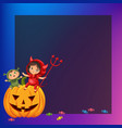 kids sitting on halloween pumpkin vector image