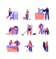 laundry and home cleaning set male and female vector image