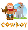 man and horse cowboy rodeo wild west vector image