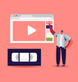 man watching video course online lesson or vector image vector image
