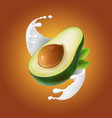 milk splash with avocado fruit vector image vector image