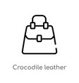 outline crocodile leather bag icon isolated black vector image vector image