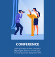 photographer photograph woman on stage conference vector image vector image