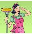 Pop Art Housewife Woman Cleaning House with Mop vector image vector image