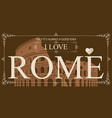postcard with coliseum and words i love vector image