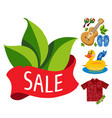 sale green leaves guitar shirt colored for design vector image vector image