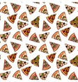 Seamless pattern of various pizza slices vector image vector image