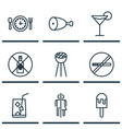 set of 9 food icons includes no drinking stop vector image vector image