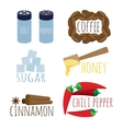 set of spices coffee sugar honey vector image