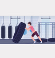 sportswoman flipping a tire doing hard exercises vector image vector image