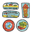 traveling colored icons set vector image vector image