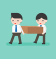 two businessmen carrying a block flat design vector image