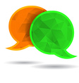 Two polygonal speech bubble chat orange and green vector image