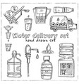 water delivery hand drawn doodle set vector image