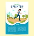 woman is jogging in city park poster happy vector image vector image
