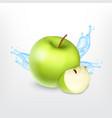 green apple with water splash vector image