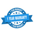 1 year warranty ribbon 1 year warranty round blue vector image vector image
