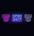 24 7 neon sinboard open all day neon sign vector image vector image
