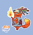 baby fox shaman with feather cute decorative vector image vector image